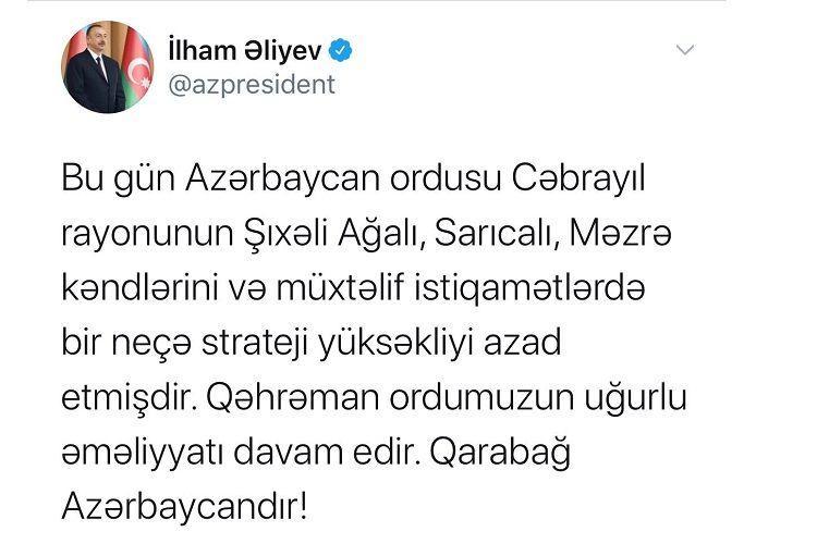 """""""Cəbrayılın bir neçə kəndi də işğaldan azad olunub""""<b style=""""color:red""""></b>"""