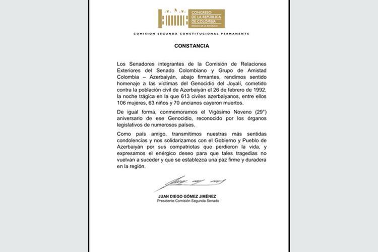 """Kolumbiya Senatı Xocalı soyqırımı ilə əlaqədar bəyanat qəbul edib<b style=""""color:red""""></b>"""