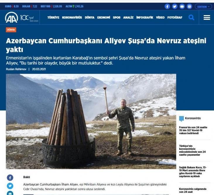 """Türkiyə mediası: """"İlham Əliyev Şuşada Novruz tonqalını alovlandırdı""""<b style=""""color:red""""></b>"""