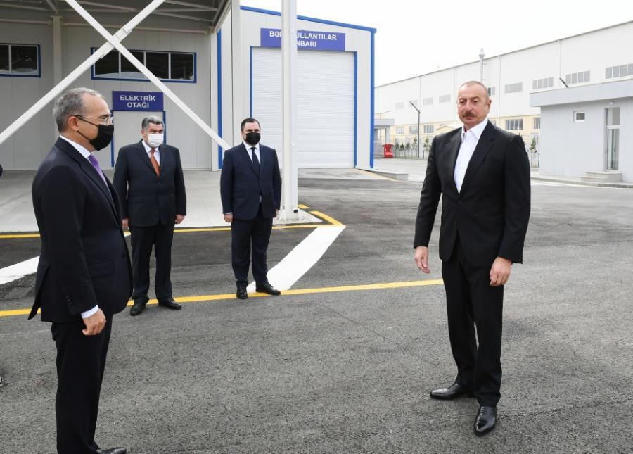 """Prezident Hacıqabul Sənaye Məhəlləsinin açılışında -<b style=""""color:red""""> Yenilənib</b>"""