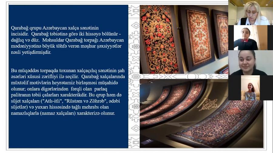"""""""Azərbaycan xalçasını tanı və tanıt"""" adlı onlayn görüş keçirildi<b style=""""color:red""""></b>"""