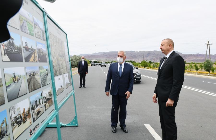 """İlham Əliyev Culfa-Ordubad avtomobil yolunun açılışında -<b style=""""color:red""""> Yenilənib</b>"""