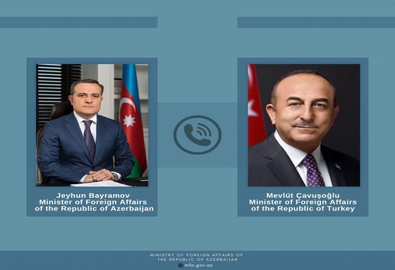 """Mövlud Çavuşoğlu və Ceyhun Bayramov telefonla danışıb - <b style=""""color:red"""">Yenilənib</b>"""