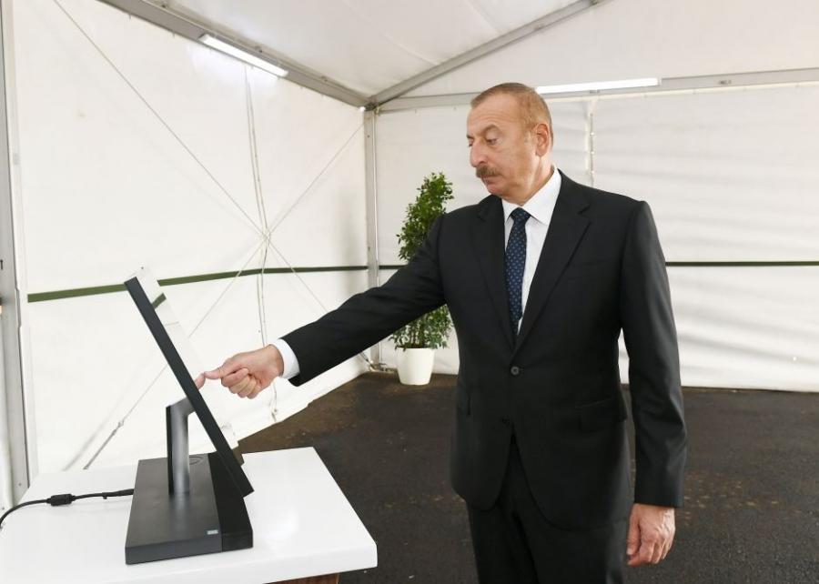 Dövlət başçısı yeni estakada nasos stansiyasının açılışında iştirak edib -  Foto (Yenilənib)
