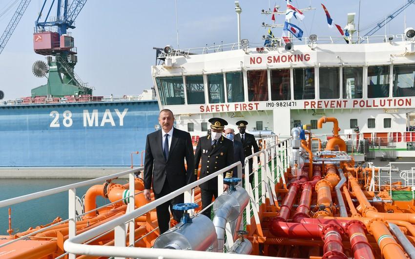 """Prezident """"Kəlbəcər"""" neftdaşıyan tankerin istismara verilməsi mərasimində iştirak edib<b style=""""color:red""""></b>"""