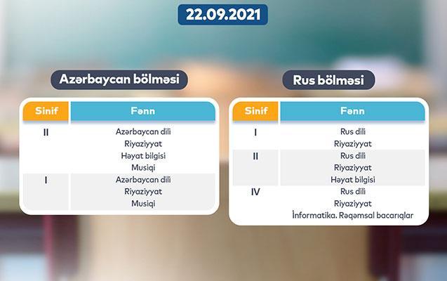 """""""Dərs vaxtı""""nın 22 sentyabr cədvəli"""