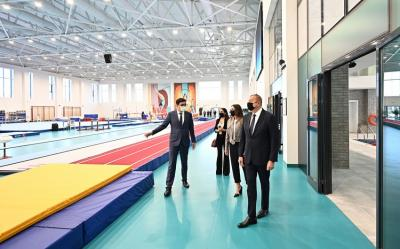Prezident və birinci xanım Milli Gimnastika Arenasının yeni məşq binasında yaradılan şəraitlə tanış olublar - Yenilənib